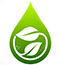 17637778 Icon bio with a green leaf and water drops Stock Photo